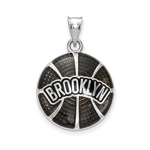 LogoArt NBA Brooklyn Nets Large Disc Pendant in Sterling Silver by LogoArt