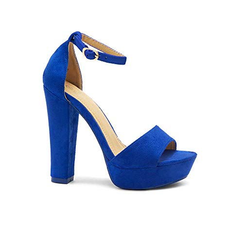 - Herstyle Island Women's Open Toe Ankle Strap Chunky Platform Dress Heel Sandal Royal Blue 6.0
