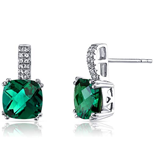 1.44 Ct Womens Cushion Green Emerald Sim Diamond Drop Stud Earrings in 14k White Gold Plated Over