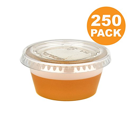 3.25 OZ Plastic Portion Cup with Clear Lids Disposable Jello Shots Sauce Condiment Souffle Dressing Mini Containers [250 Pack]