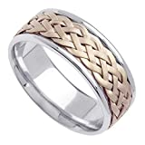 18K Two Tone (Rose and White) Gold Braided Wicker Style Mens Comfort Fit Wedding Band (8mm)