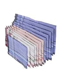 Fenteer 12x Pañuelo De Tela Escocesa Mixta Pañuelo De Algodón Para Hombres Y Mujeres