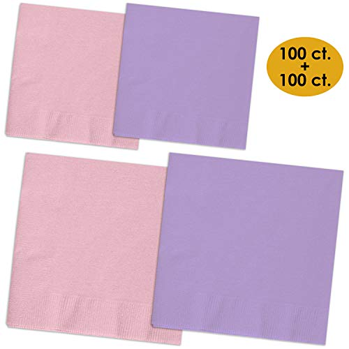 (200 Napkins - Candy Pink & Lavender - 100 Beverage Napkins + 100 Luncheon Napkins, 2-Ply, 50 Per Color Per Type)