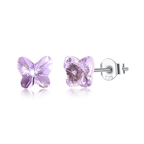 Tiny Sterling Silver Butterfly Stud Earrings for Women Girl Kids Mini Butterfly Hypoallergenic Earrings Made with Swarovski Crystals, by DreamSter (Swarovski Earrings For Girls)