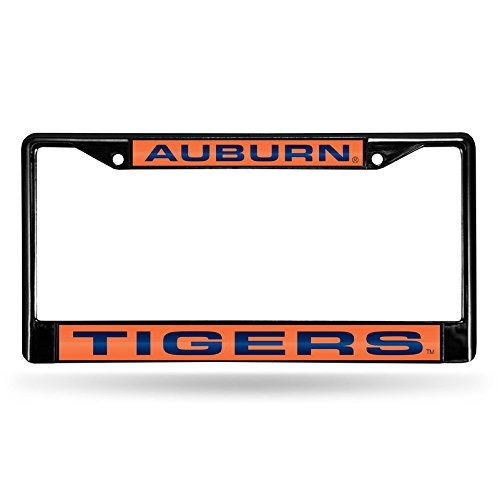 (Rico Industries NCAA Auburn Tigers Laser Cut Inlaid Standard Chrome License Plate Frame, 6