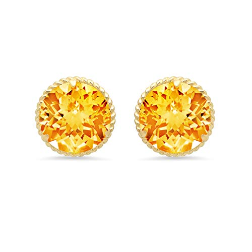 (14k Yellow Gold Roped Halo Round-Cut Citrine Stud Earrings (8mm))