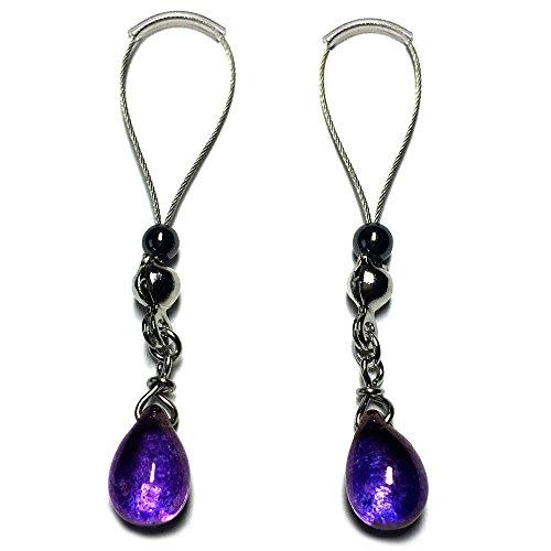 BoDivas Nipple Jewelry Noose Rings Crystal Drop Neon Purple Hematite Adjuster Non Piercing Nipplerings