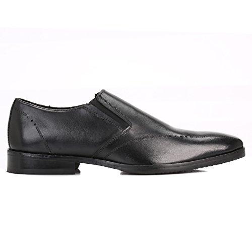 J.G Harrisons Hommes Noir Cuir Loafers