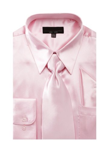 Pink Satin Dress Set - Men's Solid Color Satin Dress Shirt Tie and Hanky Set - Pink 16.5 34-35