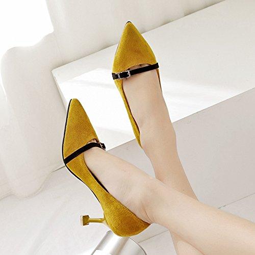 Light-matte, Chaussures à talons hauts Unique Chaussures, Jaune, 38