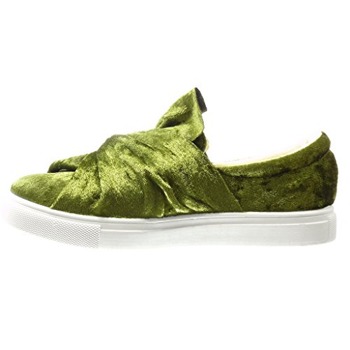 Angkorly - Chaussure Mode Baskets Mocassin basse femme noeud Talon plat 0 CM - Vert