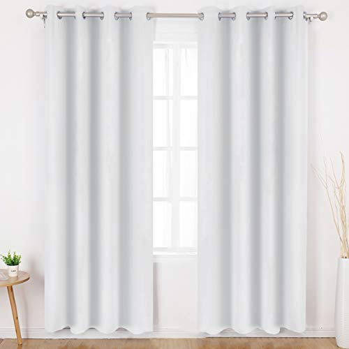 HOMEIDEAS Greyish White Blackout Curtains Wide 52 X 84 inches Long Set of 2 Panels Room Darkening Curtains/Drapes, Thermal Insulated Grommet Window Curtains for Bedroom & Living Room (Panel Curtain White Set)