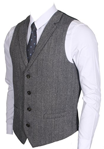 Ruth&Boaz 2Pockets 4Buttons Wool Herringbone/Tweed Tailored Collar Suit Vest (M, Herringbone navy)