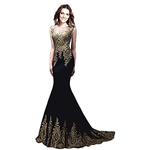 Rong store Sleeveless Prom Dresses Appliques Beaded Lace Beaded Long Gown Black US 4