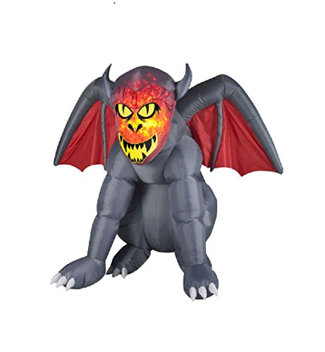 Gemmy Airblown Inflatable Gray Gruesome Gargoyle with Orange Fire and Ice Face - Indoor Outdoor Holiday Decoration, 4.5-foot Tall x 5.5-foot Wide x 4-foot (Gruesome Zombie Costumes)
