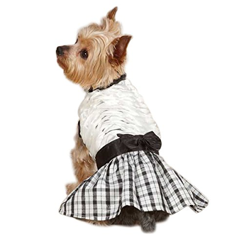 East Side Collection Polyester The First Lady Ruffle Taffeta Dog Dress, Medium, 16-Inch, White