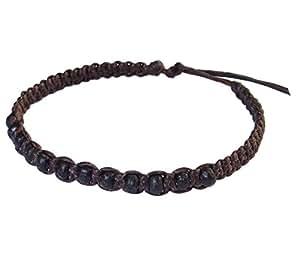 Thai Buddha Fashion Art Handmade Bracelet Brown Wax String Black Wood Beads Wristband Thailand