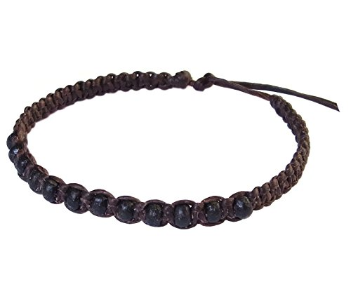 Thai Buddha Fashion Art Handmade Bracelet Brown Wax String Black Wood Beads Wristband Thailand