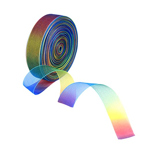 (Shappy 1 Inch Shimmer Sheer Organza Ribbon, Rainbow Colors (50)