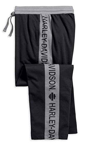 s Fleece Striped Lounge Pants, Black & Gray 97789-18VM (S) (Harley Davidson Mens Fleece)