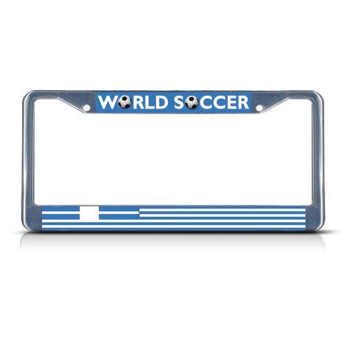 (Sign Destination Metal License Plate Frame Solid Insert Greece Soccer Team Car Auto Tag Holder - Chrome 2 Holes, Set of 2 )