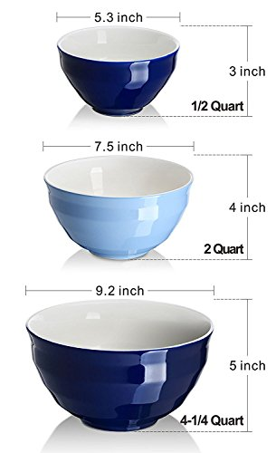 Dowan Ceramic Mixing Bowls Serving Bowl Set Non Slip Soft