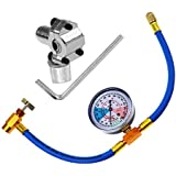 BPV31 Piercing Valve for Bullet with R134a Refrigerant Charging Hose,Refrigerant Can Tap with Gauge, R134a can to R-12/R-22 port