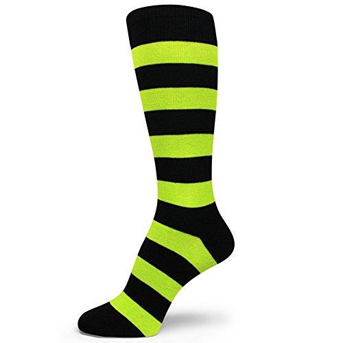 Spotlight Hosiery Two Color Striped Mens Dress Socks,Black/Lime Green (Looks like Neon Green)