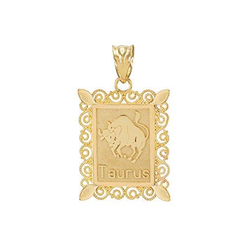 Fine 10k Yellow Gold Filigree-Style Rectangular Frame Taurus Zodiac Sign Charm Pendant