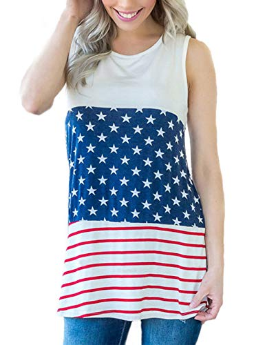 (Independence Day Tops Summer Casual Tunic Tank Tops American Flag Shirt)