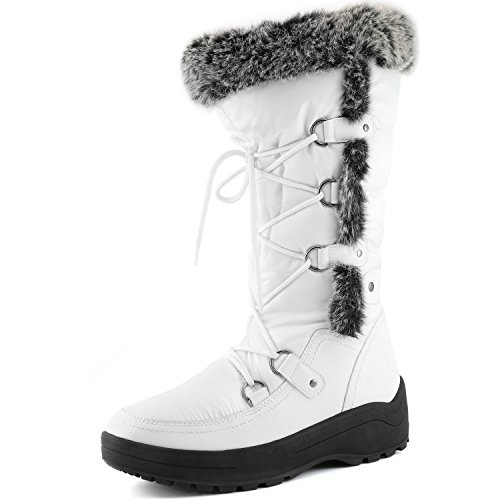 up Warm Knee Snow White DailyShoes High Woman's Resistant Boots Fur Women's Water Eskimo n4pwqI6Ax