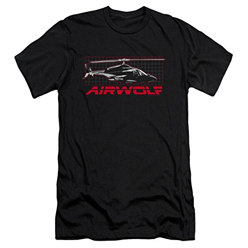 Slim Adult Grid en Airwolf camiseta negro Fit vABwnpC
