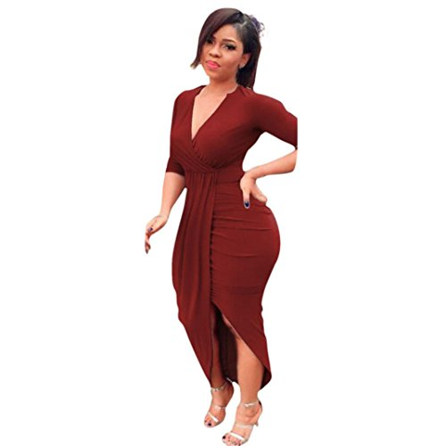 Kimloog Wrap Dress, Women V Neck 3/4 Sleeve Ruched Bodycon Long Maxi Dresses Split Front Sheath Sundress (S, Wine)