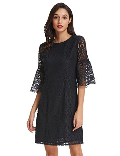 lace a line dress with sleeves - 1