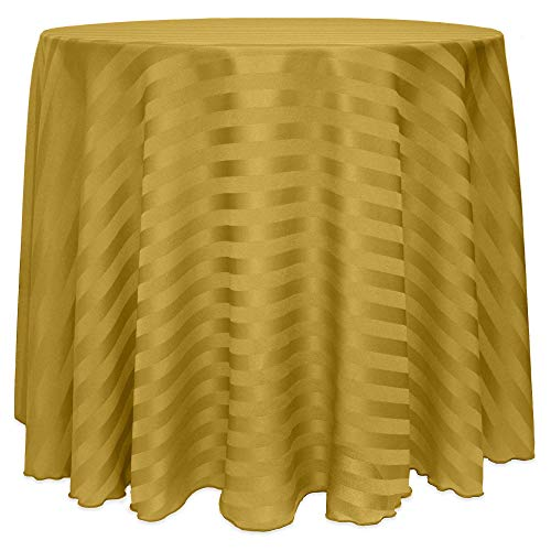 Ultimate Textile -22 Pack- Satin-Stripe 90-Inch Round Tablecloth, Gold ()