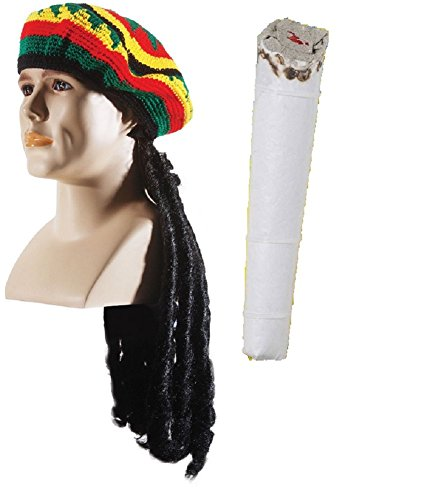 Rasta Dread Hat Joint Jay Big Smoke Hippie Combo Costume Accessory Set Adult Fun