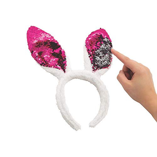 (Reversible Sequin Rabbit Easter Bunny Ears Headband Party Favor Accessory - 6 Piece Set )