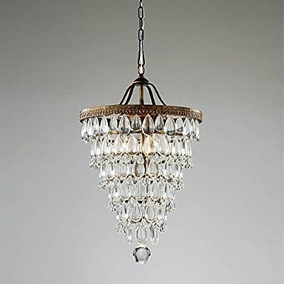 Cone Shape 4-light Antique Copper Crystal Pendant Chandelier Ceiling Fixture