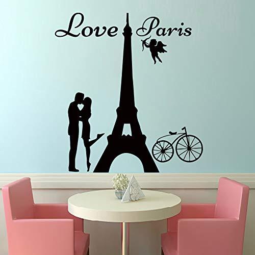 Angels Love Paris Tatuajes de Pared Amante Besándose Y Bici ...