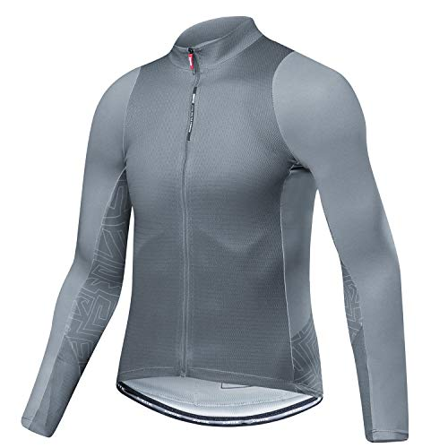 e1537dc2f Santic Cycling Jersey Men s Long Sleeve Tops Mountain Bike Shirts Bicycle  Jacket with Pockets Gray 3XL