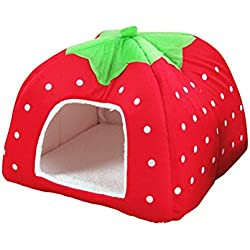 UEETEK Pet Dog Strawberry Shape Dome Tent Bed Puppy Cat Winter Sleeping Cushion Bed (Red)
