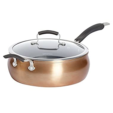 Epicurious Aluminum Nonstick 6 qt. Covered Jumbo Cooker with Helper Handle in Copper