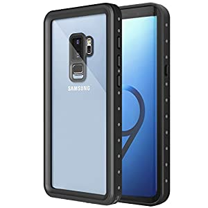 MoKo Waterproof Case for Samsung Galaxy S9 Plus, Shock-absorbing Bumper Submersible Cover, Ultra Protective Case with Built-in Screen Protector for Galaxy S9+ 6.2 Inch 2018 - Black + Grey