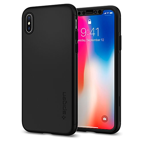 Spigen Thin Fit 360 iPhone X Case with Exact Slim Full Protection with 2 Packs of Tempered Glass Screen Protector for Apple iPhone X (2017) - Black by Spigen (Image #2)