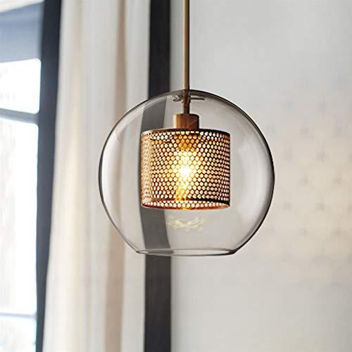 ZFF Vintage Chandelier Height Adjustable Glass Chandelier Living Room Bedroom Kitchen (Size : Rund) (Runde Shades)