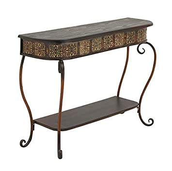 deco metal wood console table black outdoor with legs