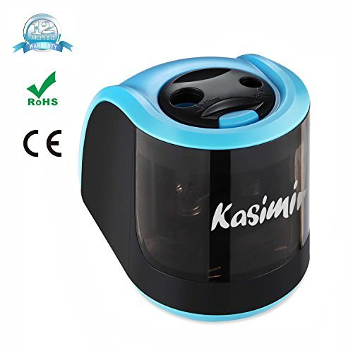 Electric Pencil Sharpener Kasimir with 2 Different Holes Mechanical Battery Operated Automatic Sharpener Great for Drawing Pencils Kids Adults Artists Teachers Home Classroom Office School