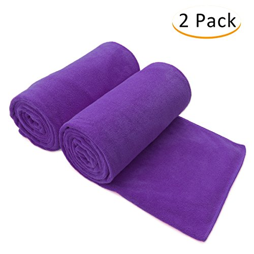 """JML Bath Towels, Microfiber Towels (2 Pack, 30""""x 60"""") - Super Absorbent, Quick Drying, Shed and Fade Resistant Antibacterial Fitness Towel, Purple"""