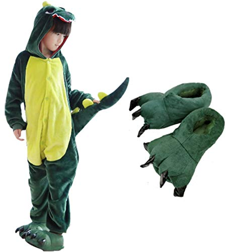 Beskie Kids Onesie Pajamas Unisex Dragon Halloween Costume with Slipper Age 2-10 Years ()