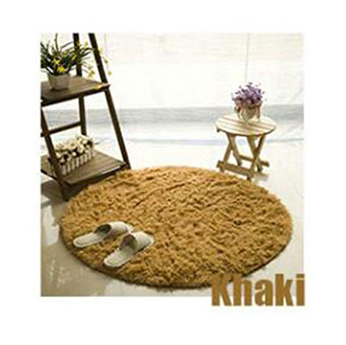 Fluffy Round Carpet for Living Room Kids Crawl Non-Slip Mat Bedroom Door Floor Mat Home Decor Shaggy Faux Fur Area Rug, Khaki, Diameter -